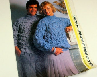 Vintage Knitting Pattern, His and Hers Reversable Sweaters to Knit,   (56-13)