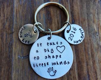 It takes a big heart to shape little minds teacher appreciation gift hand stamped teacher keychain personlized teacher gift custom gift 2018