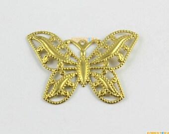 10Pcs Brass Butterfly Charm Butterfly Pendant 44x32mm (PND1588)