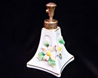 Vintage Irice PORCELAIN PERFUME BOTTLE Applied Flowers Atomizer