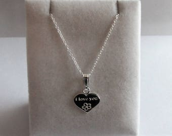 Sterling Silver 'I Love You' Heart Pendant & Chain Necklace.