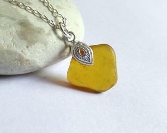 Amber Sea Glass Pendant, Seaglass Necklace, Sea Glass Jewelry, Ornate Pendant, Sterling Silver, Seaglass Jewellery, Beach Fan - P170026