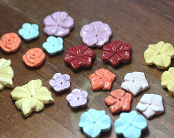 Gemstone Flower Beads Mixed Color Jewelry Making Supplies