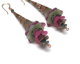 Victorian Filigree Flower Earrings. Long Drop Earrings. Green. Pink. Lightweight. Garden. Romantic. Fairy. Be Mine. Handmade Jewelry.