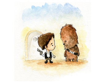 Han Solo and Chewbacca Watercolor