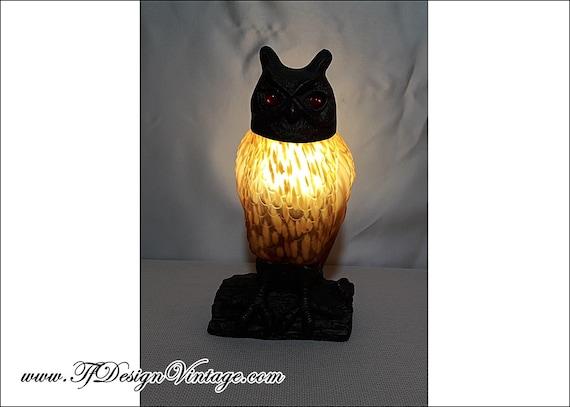Lámpara búho, Lámpara con figura de búho, Lámpara búho metal y vidrio, Búho lámpara, Lámpara mesa búho, Figura búho, Búho regalar, Búho 24cm