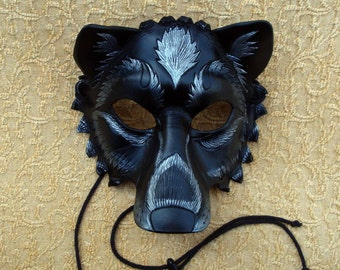MADE TO ORDER Black and Silver  Leather Wolf Mask... masquerade costume mardi gras halloween burning man splicer