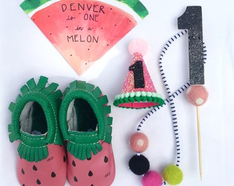 One in a Melon Birthday Party Hat || Watermelon Party || Watermelon Birthday || Girl Party Hat || 1st Birthday Party Hat