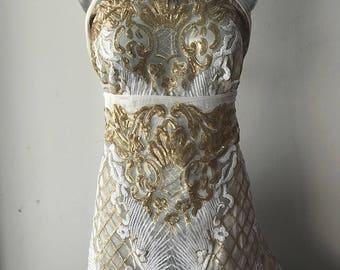 Gold on white sequins fabric bridal