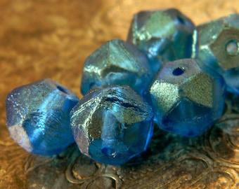 Capri Shimmer Rocks (6) -Czech Glass English Cut Rounds 11x10mm