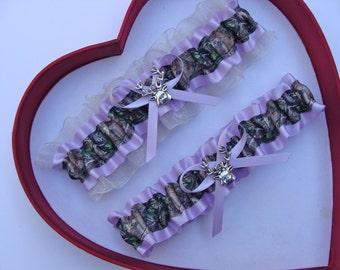New Lavender Ivory Mossy Oak Camouflage Camo Wedding Garter Prom GetTheGoodStuff