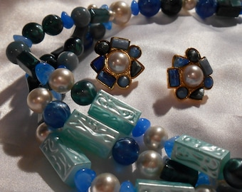 Avon South of France Shades of Blue and Green Beaded Necklace and Pierced Earring Set