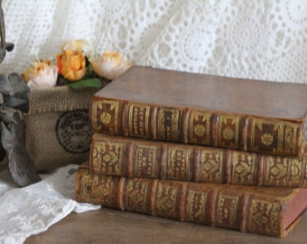 Set of 3 Antique French Leather Bound Books - 18th Century - Paris