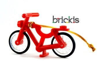 LEGO® bicycle red ornament for Christmas for the Xmas tree made with LEGO® bricks