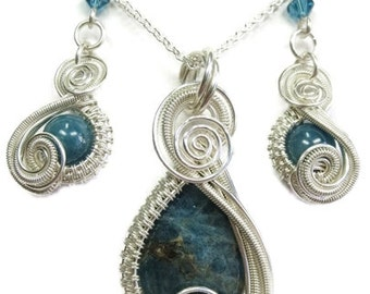 """Blue Apatite and Swarovski Crystal Wire-Wrapped """"Mini-Swish"""" Earring/Necklace Set in Sterling Silver"""