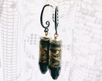 Etched 9mm Earrings- Black Crystal- Antiqued- Mixed Metal