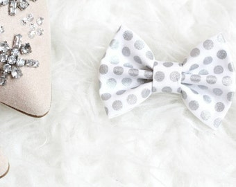 Metallic sparkly white and silver polka dots bow - headband or clip