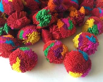 """100 Pom Poms, 1"""" Colorful Handmade Cotton Pom Poms, Decorative Colorful Pom Poms, Cotton Pom Poms"""