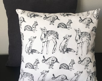 Cozy Flannel Black and White Woodland Creatures Forest Animals front Herringbone Gray and Black back 16 inch Pillow with Insert