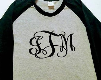 Ladies Monogram Baseball Raglan Shirt - Monogram Shirt - Monogram Tee - Monogrammed Gift - Birthday Gift - Gift For Her - Personalized Shirt