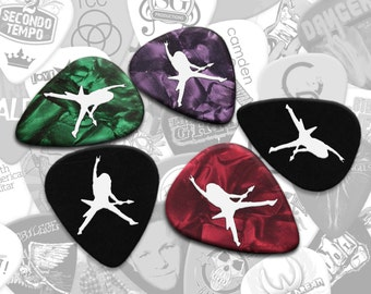 50 X White Print on Black or Pearl Custom Photo Guitar Picks Plectrums Gifts for Musicians Guitarist Bass Acoustic Electric Personalised