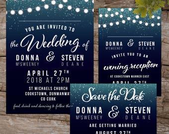 Fairy Lights Rustic Elegant Printable Wedding Invitations