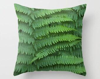 Fern pillow, fern cushion, green pillow, green cushion, nature photography, throw pillow, scatter cushion, cushion cover, 14, 16, 18, 20