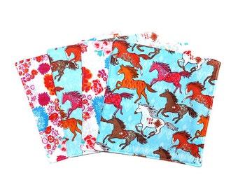 Horse Gift, Reusable Napkins, Green Product, Lunch Box Napkin, Reversible Napkin, Cloth Napkin Set, Eco Friendly Napkins, Flannel Napkin Set