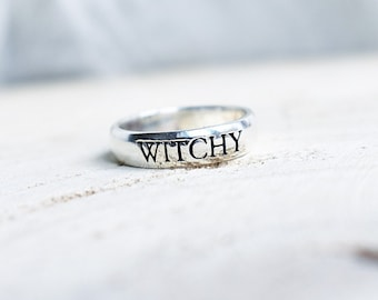 925 Sterling Silver 'Witchy' band ring. Bohemian gothic jewellery