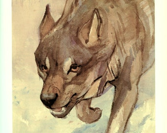 Wolf poster 1975 Vintage Wolf painting Wolf print Wolf art Wolf gift for dog owner Wolf wall art Wolf decor Wolf watercolor