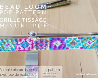 PDF Bead Loom Bracelet Pattern/Beading grid/loom bracelet/ Miyuki delica beads/miyuki pattern/hmong pattern/delica pattern