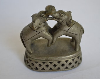 Antique India Brass Foot Scrubber with Two Elephants
