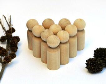 10 x small Wooden PEG DOLLS Bulk Waldorf Montessori * Blank / Natural - peg dolls DIY 'child' > wood pegdolls wood craft supplies Australia