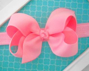 Pink Baby Headband Pink Easter Bow Headband Newborn Bow Headband Hair Bow Headband Pink Baby Bow Headband Pink Infant Toddler Headband