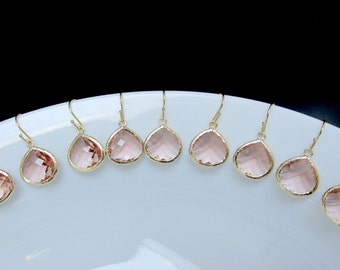 set of 9 bridesmaids earrings , gold blush earrings , pink blush earrings , sale bridesmaids earrings , 10% off bridesmaids earrings
