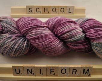 """Hand-dyed yarn, """"School Uniform"""", variegated, soft and squishy yarn. Great for socks or shawls. 80/20 Superwash wool/Nylon"""