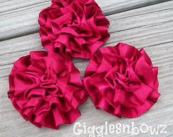 Set of 3 Beautiful BURGUNDY Satin Rosettes Puff Flowers