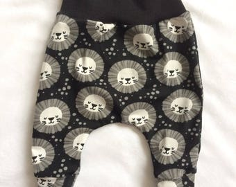 Lion Leggings, Monochrome, black and white, boy leggings, girl leggings, baby leggings, harems, toddler, birthday present, new baby gift