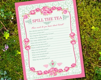 High Tea Party Game - Spill The Tea Party Game - Instantly Downloadable and Editable File - Personalize and Print at home with Adobe Reader