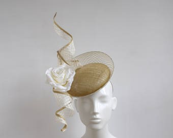 Ivory and Gold Percher Headpiece - Ivory Gold Fascinator - Large Ivory Gold Fascinator - Mother of the Bride Hat Royal Ascot Sculptural Hat