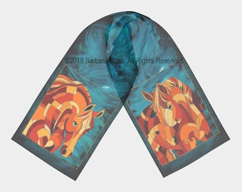 Chestnut Horse Scarf, Horse Scarf,  Colorful Chestnut Horse Scarf, Thoroughbred Scarf