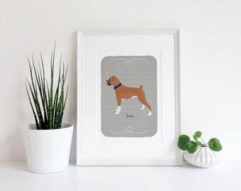 Boxer Breed Custom Dog Art - Fawn - Brindle