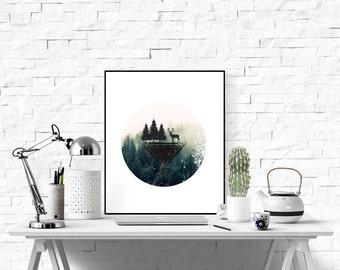Forest Wall Print, Printable Wall Art, Circle Print, Forest Print Deer Print, Deer Wall Print, Print, Forest Print, Geometric Print, Forest
