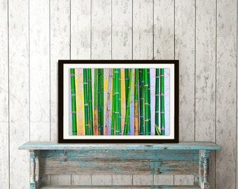 Bamboo illustration prints, bamboo prints,  bamboo wall art, bathroom prints, bedroom prints,