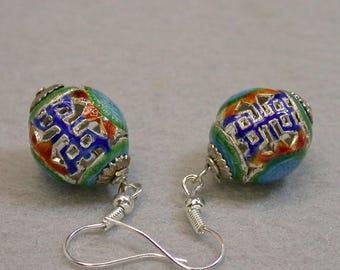 Vintage Chinese Cloisonne RARE Mandarin Court Bead Dangle Drop Earrings, Lapis Blue, Cinnabar Red, green enamel work , Silver ear wires