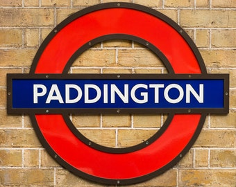 London Paddington Station Underground Tube Sign - Photograph