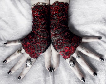Lace Fingerless Gloves   Black Deep Red Metallic Embroidered Floral   Gothic Vampire Offbeat Bridal Bellydance Goth Evening Prom   Celosia