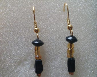 Handmade black and yellow beaded with gold earrings