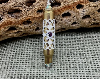 Bullet Pendant   Re-purposed      Ammo Jewelry       Bullet and Crystal Pendant   item 2276