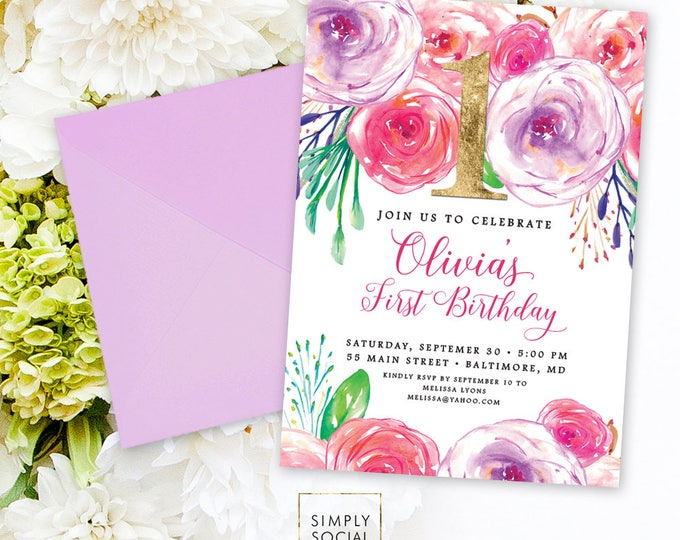 Floral First Birthday Invitation - First Birthday 1st Birthday Rainbow Rose Peony Blush Faux Gold Foil Boho Watercolor Printable Invite